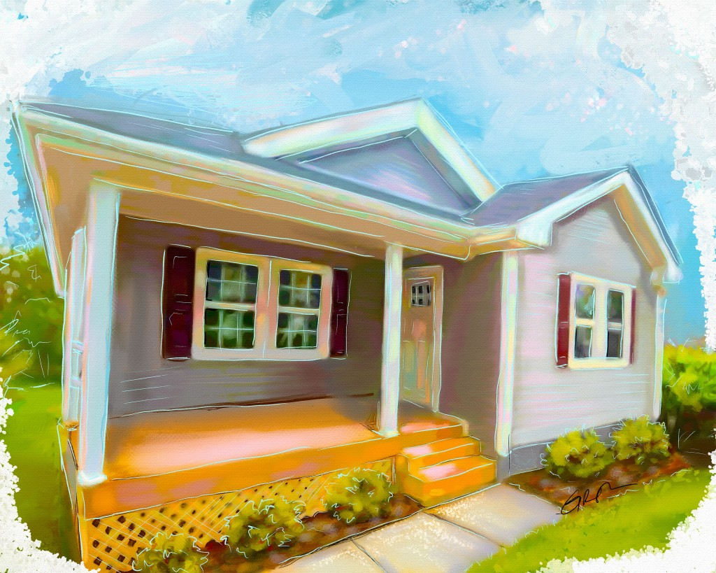 home and property portrait - a digital pastel sketch