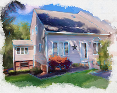 home and property portrait - a digital watercolor sketch