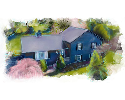home and property portrait - a digital watercolor